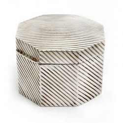 Victorian Hexagonal Silver Plated Lidded Box with Diagonal Ribbed Design