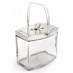 Cut Glass and Silver Plate Swing Handle Oval Box with a Pull Off Lid