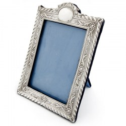 Edwardian Silver Picture Frame with a Rope and Floral Border and Blue Velvet Back