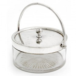Victorian Plain Glass and Silver Plate Lidded Jar with a Pull Off Lid