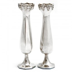 Pair of Edwardian Silver Vases with Panelled Bodies and on a Hexagonal Foot