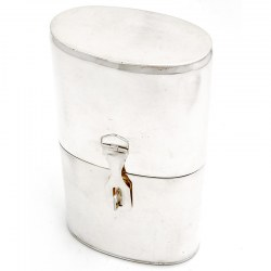 Campaign Style Silver Plated Flask with a Latch for a Padlock
