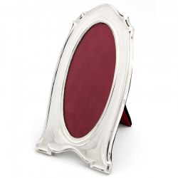 Plain Shaped Antique Silver Frame with an Oval Window (1918)