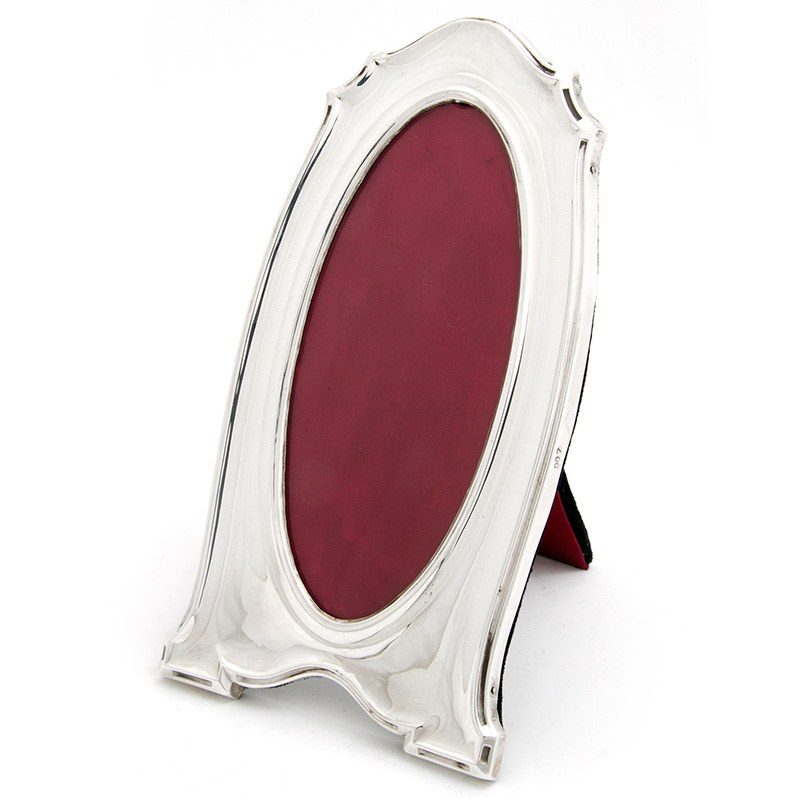 Antique Silver Frame With An Oval Window And Black Velvet Back 1918