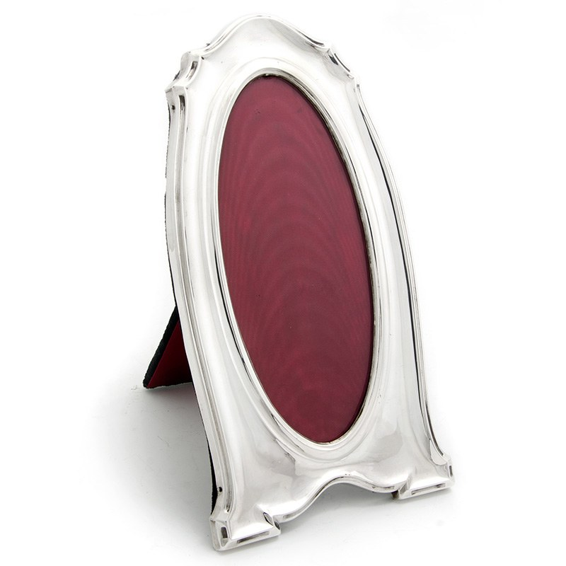 Antique Silver Frame With An Oval Window And Black Velvet
