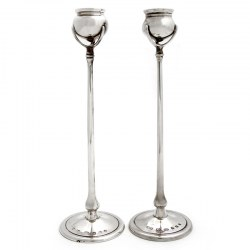 Quality Copies of a Pair of Silver Archibald Knox Candle Sticks with Cauldron Capitals (2000)