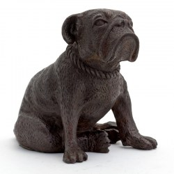 Bronze Sitting British Bulldog Statue English Dog