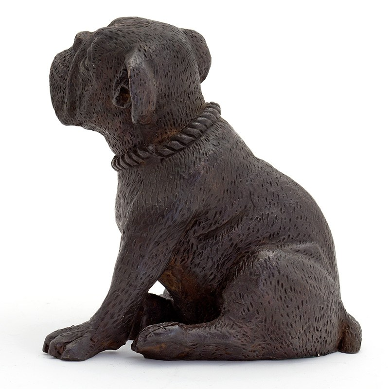 Bronze Statue Figure Of A Sitting English Bulldog Dog With