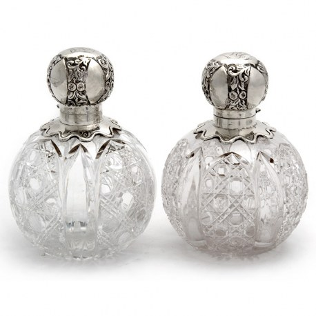 Pair of Large Victorian Silver Topped and Cut Glass Perfume Scent Bottles (1893)