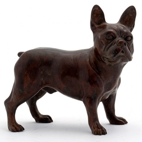 Bronze Statue of a Standing French Bulldog