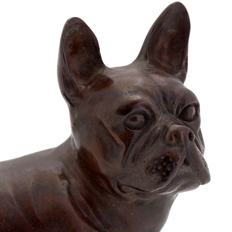 Small Classic Bronze Statue Of A Standing French Bulldog