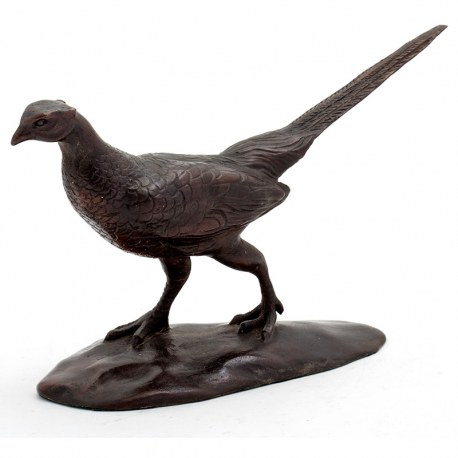 Standing Bronze Pheasant Statue on an Oval Base