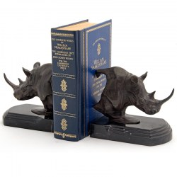 Pair of Solid Bronze Rhinoceros Statue Book Ends on Black Marble Plinths
