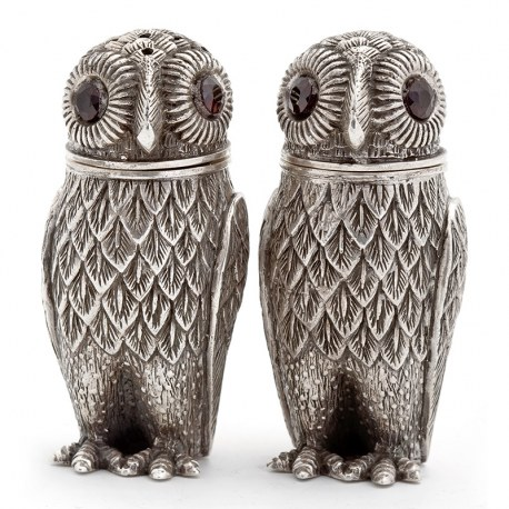 Pair of 925 Silver Owl Salt and Pepper with Glass Eyes