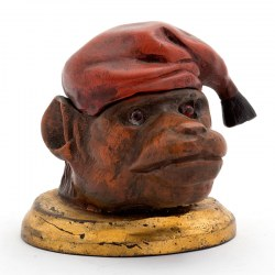 Painted Bronze Ink Well Monkey with Glass Eyes Wearing a Hat