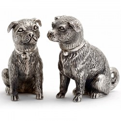 Cast 925 Silver Sitting Dog Salt and Pepper Pair