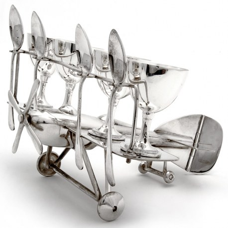 Rare Silver Plate Bi-Plane Holding Four Egg Cups and Four Tea Spoons (c.1930)