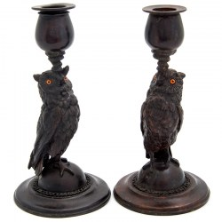 Pair of Bronze Figural Owl Statue Candlesticks on a Circular Stepped Base