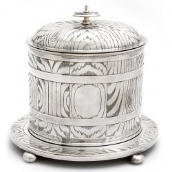 Victorian Silver Plate Biscuit Box Engraved with a Wood Effect