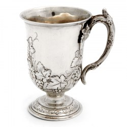Silver Campana Shaped Christening Mug with a Chased Grape and Vine Design (1882)