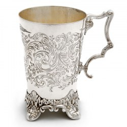 Victorian Christening Mug Engraved with Birds Flowers and Scrolls on Four Scroll Feet (c.1880)