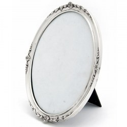 Oval Silver William Comyns Photo Frame with Original Leathered Back (1912)