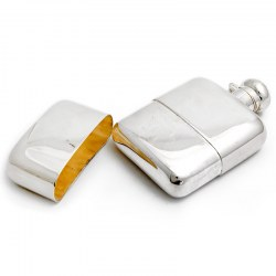 Silver Plated Plain Hip Flask with Detachable Cup (c.1950)