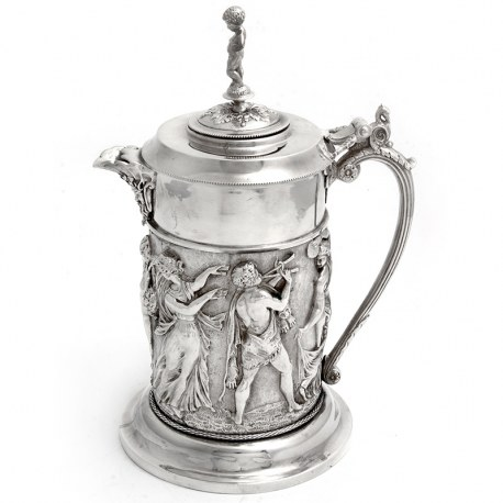 Decorative Silver Plate Wine Jug Embossed with Musicians & Dancing Figures (c.1880)