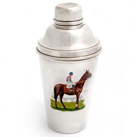Silver Plate Cocktail Shaker featuring an Enamel Painted Picture of a Jockey on his Racehorse (c.1930)