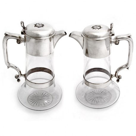 Pair of Victorian Silver Plate and Cut Glass Claret Jugs (c.1880)