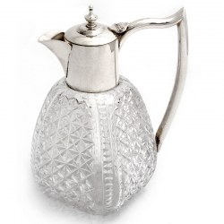 Edwarian Plain Silver Plate Claret Jug with a Square Panelled Cut Glass Body (c.1900)