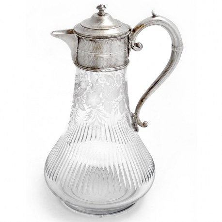 Victorian Silver Plated Claret with Enginre Turned Mount and Floral Engraved Glass Body (1880)