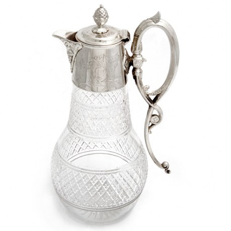 Victorian Silver Plated Claret Jug with Pineapple Finial and Engraved Floral Collar (c.1890)