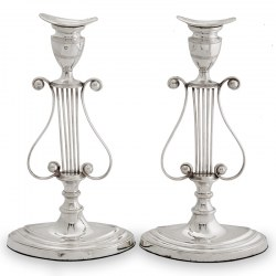 Pair of Late Victorian Silver Plated Lyre Shaped Candlesticks (c.1890)