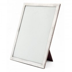Unusually Large Silver Picture Frame with Plain Border and Oak Back (1925)