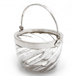 Mappin Bros Silver Plate and Spiral Glass Ice Pail (c.1890)