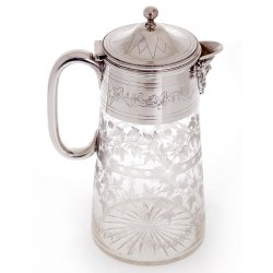Silver Plate Clear Glass Claret Jug Hand Engraved with Grapes and Vine Leaves (c.1880)
