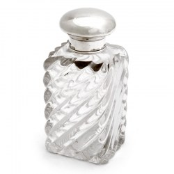 Victorian Rectangular Silver Topped Perfume Bottle with Swirl Design Clear Glass Body (1874)