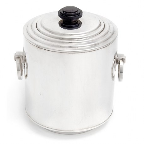 Art Deco Style Silver Plate Barrel with a Stepped Pull-Off Lid and Bakelite Finial (c.1930)