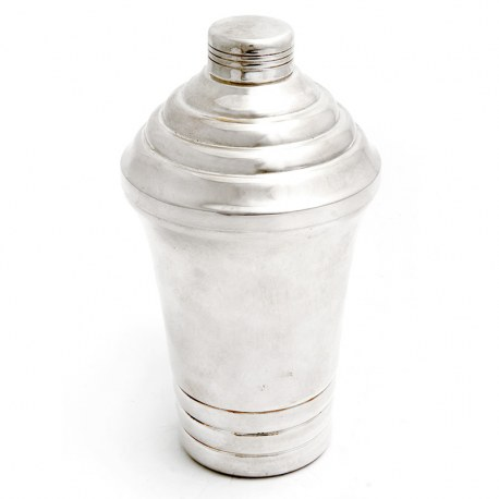 Art Deco Style Silver Plated Cocktail Shaket with Stepped Lid and Base (c.1930)