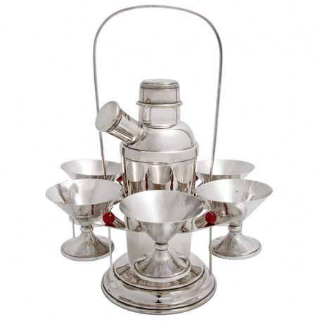 Silver Plate Cocktail Shaker Stand with Six Cups and Cherry Picks