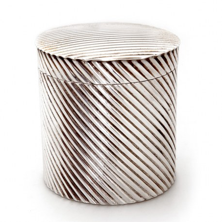 Victorian Silver Plated Spiral Ribbed Design Box wth Matching Lid (c.1890)