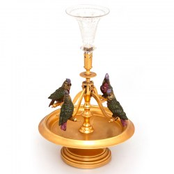 Cold Painted Bergman Vienna Bronze Centrepiece with Four Swinging Parrots (c.1890)