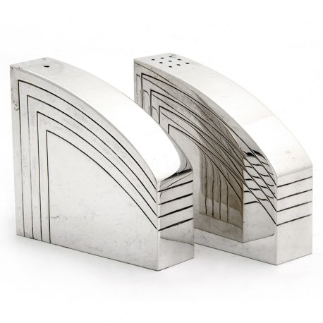 Art Deco Style Curved and Angled Bodied Silver Salt & Peppers (1983)