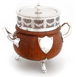 Unusual Antique Cauldron Shaped Oak & Silver Plate Barrel (c.1900)
