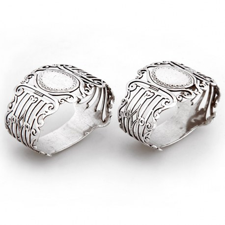 Pair of Antique Oval Pierced Silver Napkin Rings (1898)