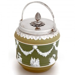 Wedgwood Three Colour Jasperware Barrel with a Floral Decorative Swing Handle (c.1890)