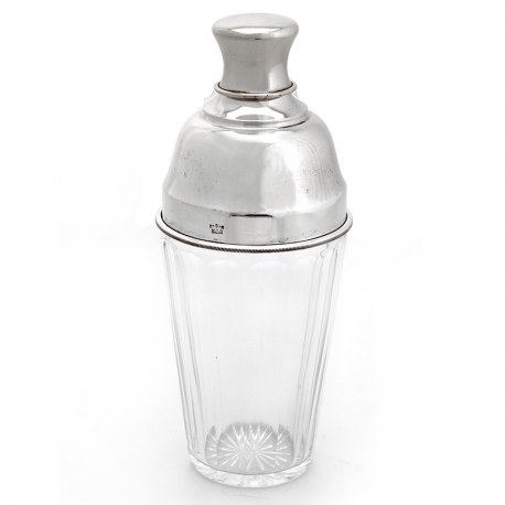 Clear Glass and Silver Plate Cocktail Shaker with Internal Ice Strainer (c.1930)