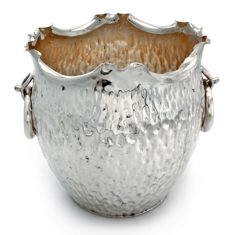 Victorian Silver Plated Wine Cooler with Crimped Rim and Textured Body (c.1890)