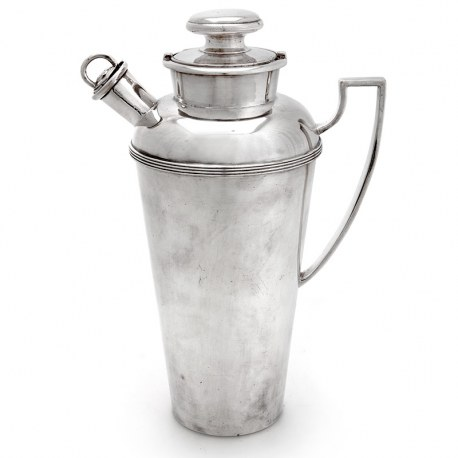 Roberts & Beck Silver Plated Cocktail Shaker with Unusual Bayonet Cap & Spout (c.1930)